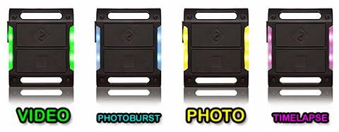Drift HD Ghost handset modes - GREEN = Video, BLUE = Photoburst, YELLOW = Photo, PURPLE = Timelapse.