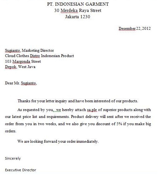 CONTOH SURAT. 1. Inquiry Letter  Purchase Inquiry Letter