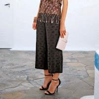 Pantaloni trei sferturi cu imprimeu pantera