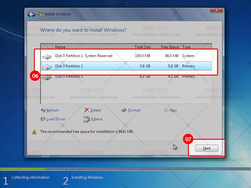 cara membuat partisi drive di windows saat instal ulang