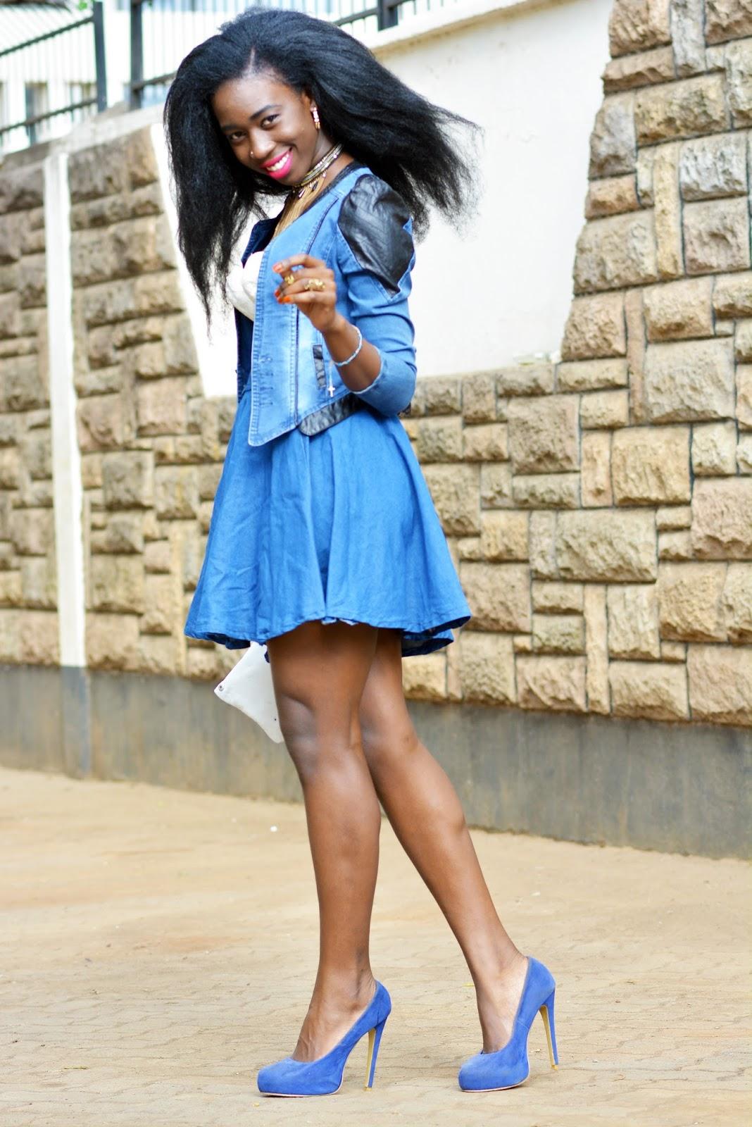 Denim on denim, corset look, denim jeans, denim circle skirt, blue heels, Ezil, style with ezil, African fashion blogging, Kenyan Fashion blogger