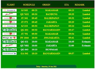 Jadwal Keberangkatan dan kedatangan Pesawat Online