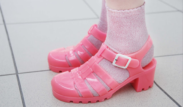 pink, shoes, jelly, sandals