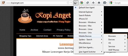 merubah user agent browser