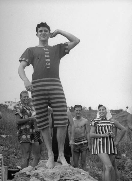 Winner of men s novelty bathing suit contest at a beach party