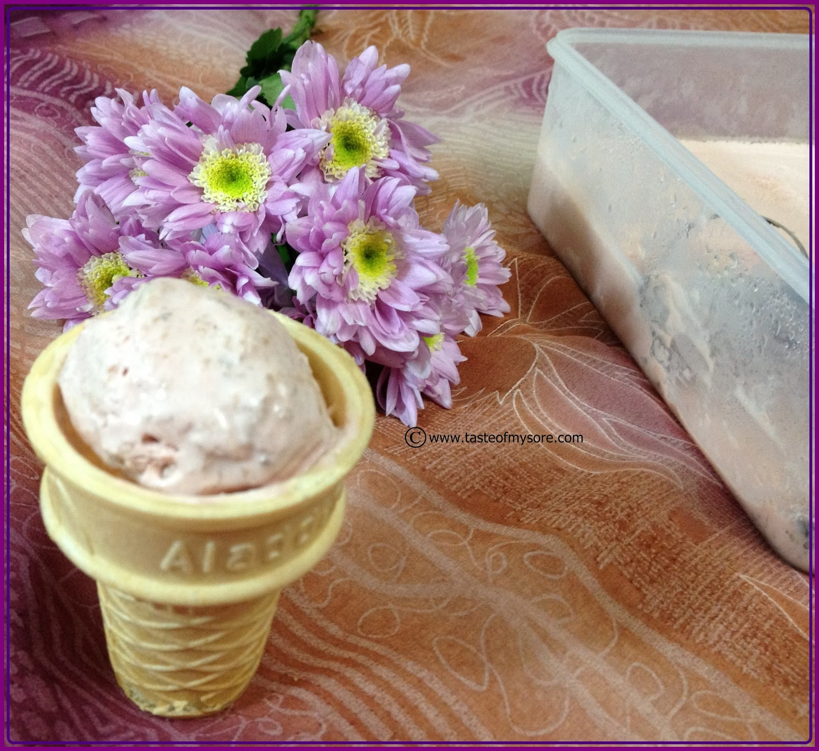 Gulkand & Dry fruit Ice Cream ~ Preserved Rose Petals Ice Cream