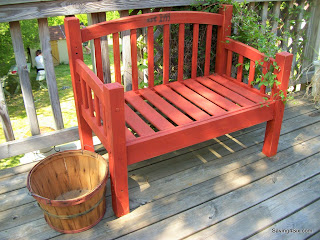 redwood stained outdoor bench