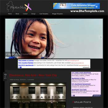 Photo BlogX blogger template. template blogger for photography blog. blogger template with image slideshow