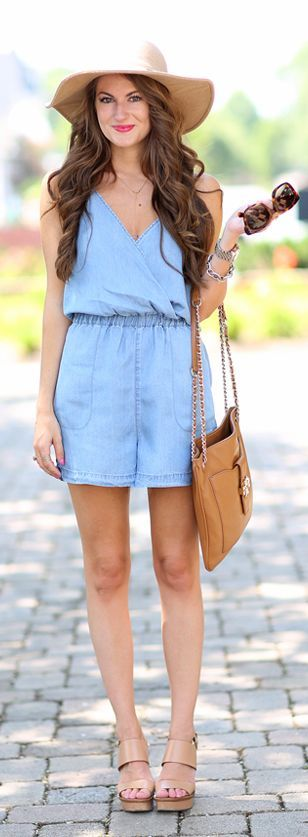 Chambray Romper by Southern Curls and pearls