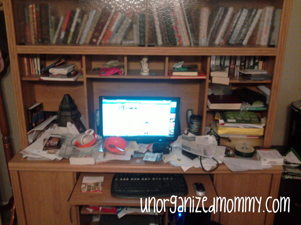 Unorganized Office Desk The computer desk/office area