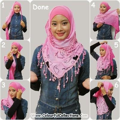 cara pakai shawl 3