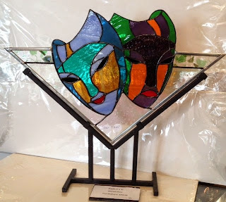 theatrical masks, stained glass, fused glass, Paul McSherry