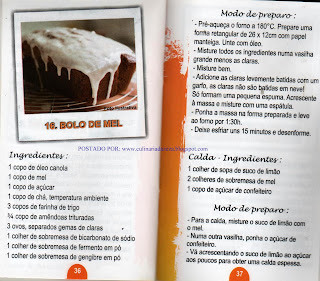RECEITA DE BOLOS DE MEL