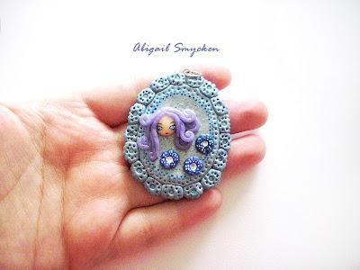 polymer clay, pendant, handmade, blue, fetita, fimo