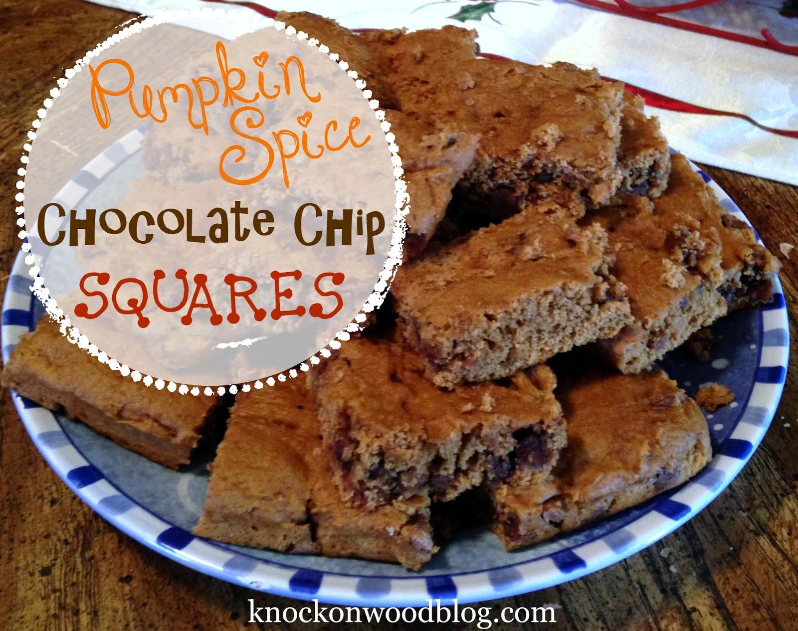 Recipe for Pumpkin Spice Chocolate Chip Dessert Squares