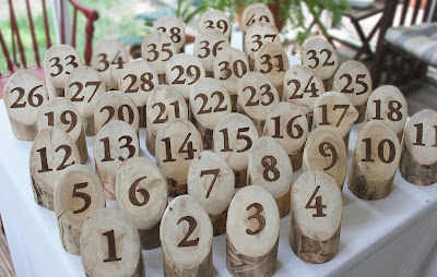 rustic log table numbers