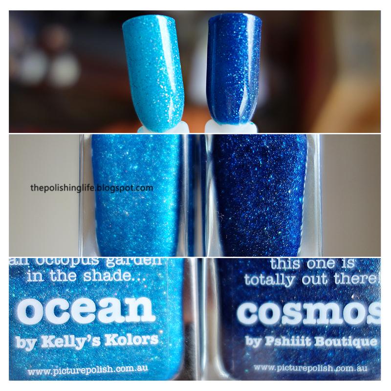 Picture Polish Ocean and Picture Polish Cosmos comparison