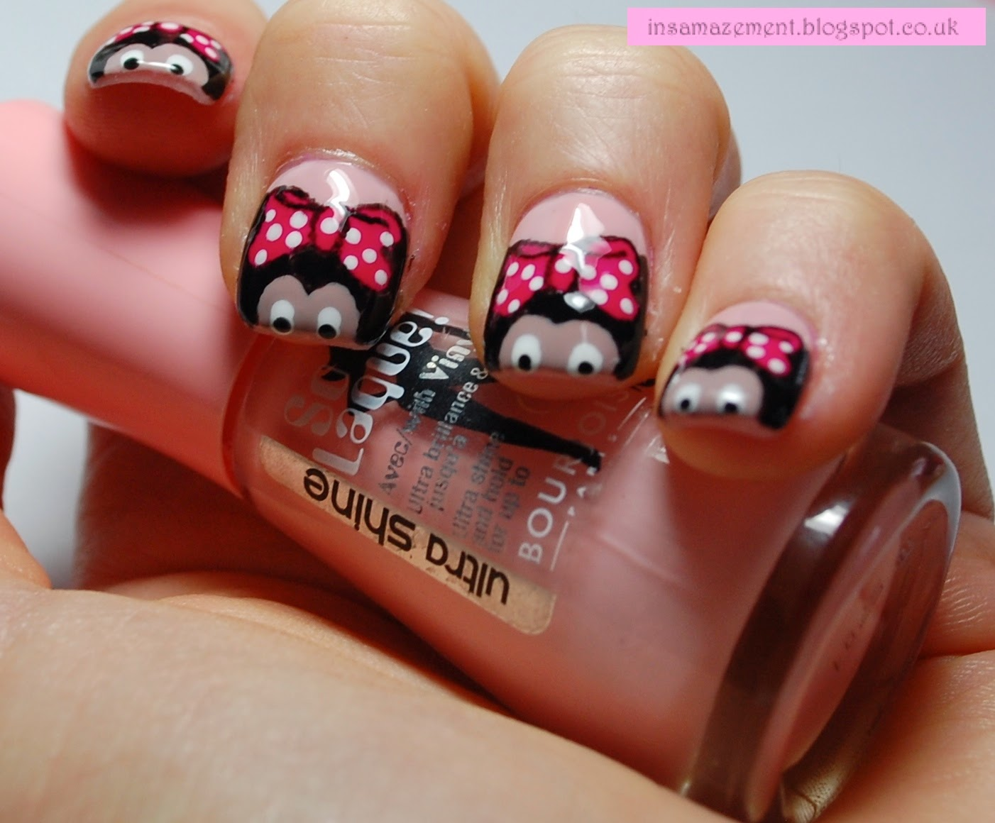 In samazement minnie mouse nail art tutorial the nail varnishes i used were illamasqua top coat boosh and scorch bourjois rose satin nails inc porchester square and barry m shocking pink prinsesfo Choice Image