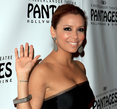 Eva longoria wedding date tattoo with Tony Parker on her arm