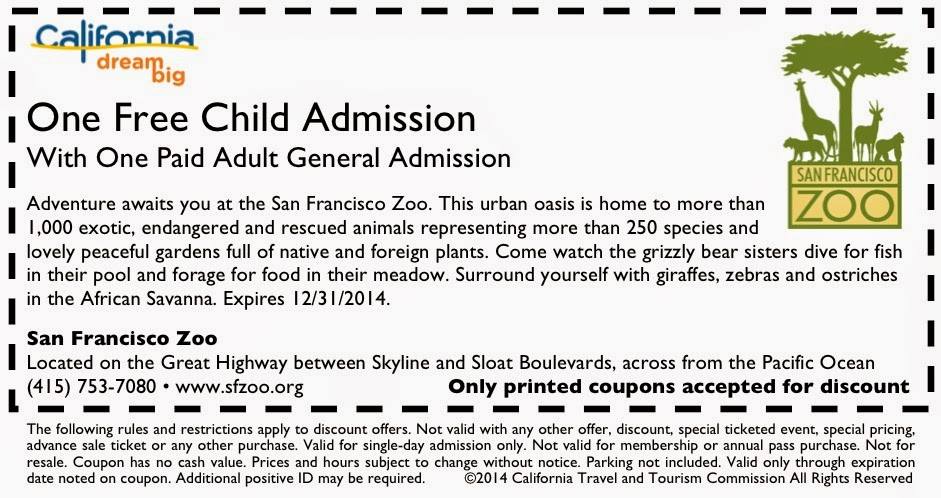 The San Francisco Zoo Top coupon we present here can be applied to both online and in-store shopping. As we aim to provide comprehensive coupons including online coupon codes, in-store coupons, printable coupons, special deals, promo codes etc., you can surely find the most suitable ones among the wide range of available deals.