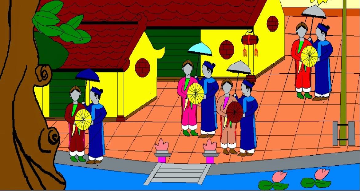 Hội làng - Tranh của em Nguyễn Ngọc Anh