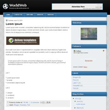 WorldWeb blogger template. tech template blog