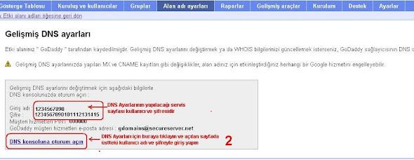 Blogger DNS ayarları