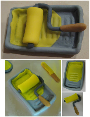 Building Your Birthday Cake Construction Cake - Close-ups of Paint Roller & Tray