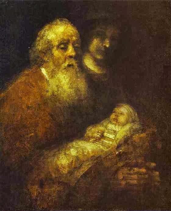Rembrandt - Simeon With the  Christ Child.  C. 1666-69.
