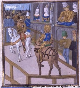 Jousts of Betanzos Renaud de Roye combats John Holland, an English knight, in presence of John of Gaunt, duke of Lancaster, and his wife