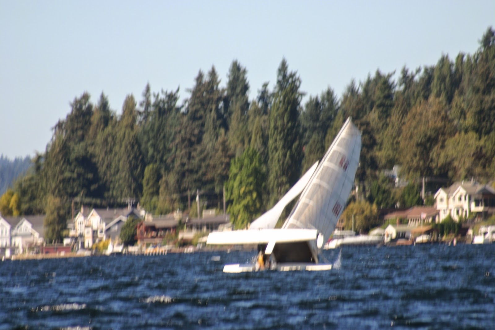 Righting a capsized hobie cat 3