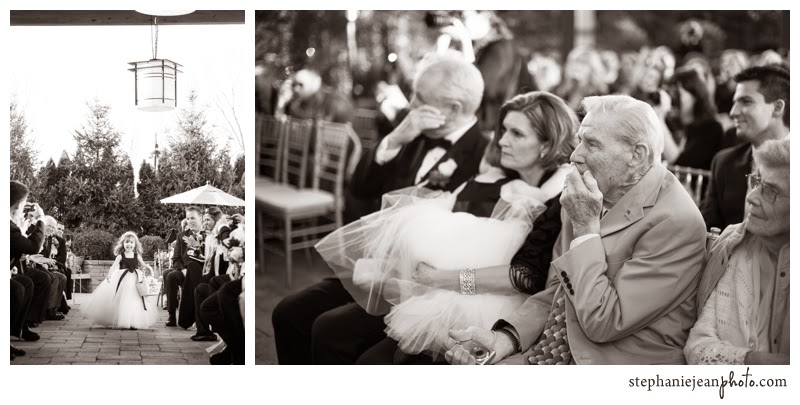 Wedding Photography Flower girl comes down the isle father mother of the bride and grandfather watch bride