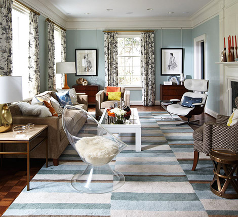 Mix and chic home tour a charming classic home in - Benjamin moore palladian blue living room ...