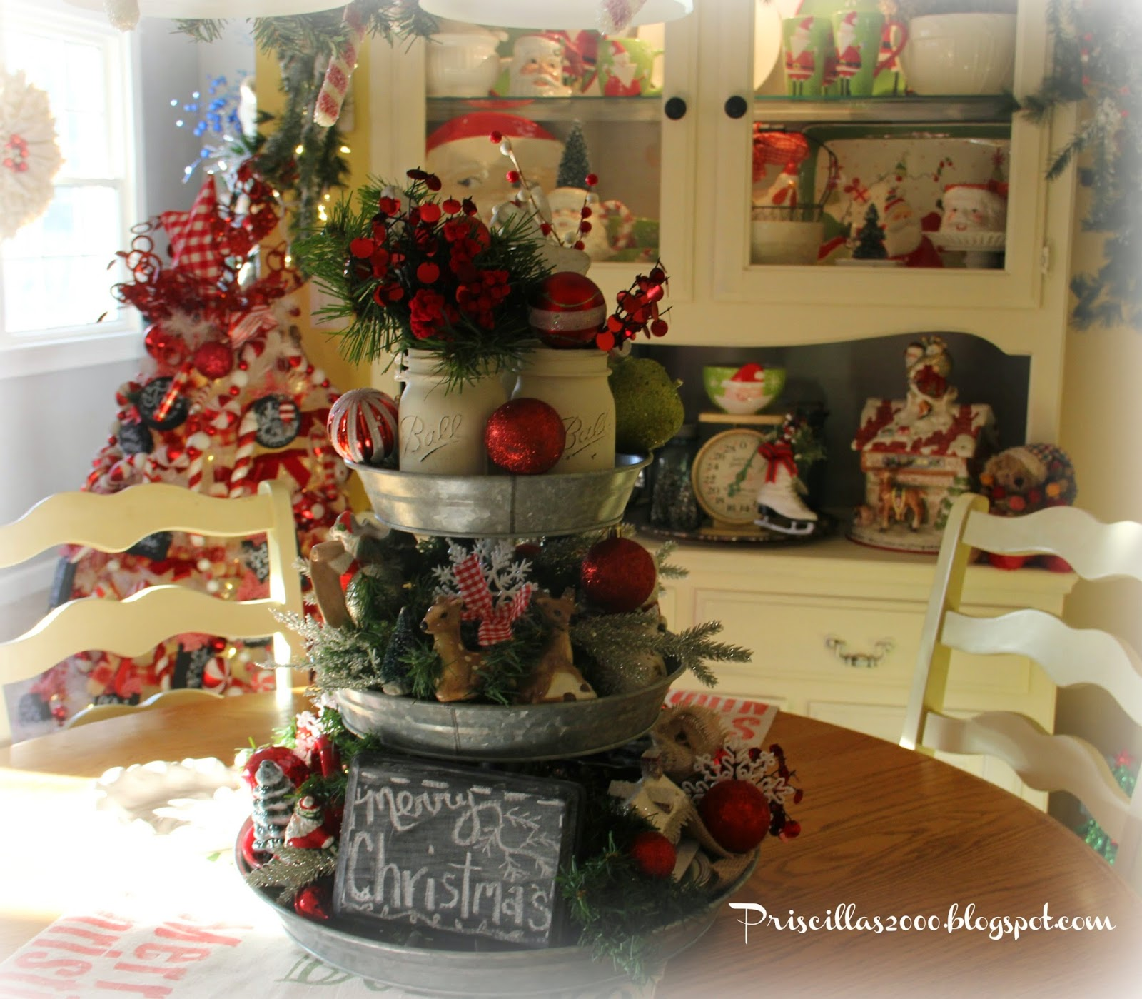 christmas galvanized tray centerpiece