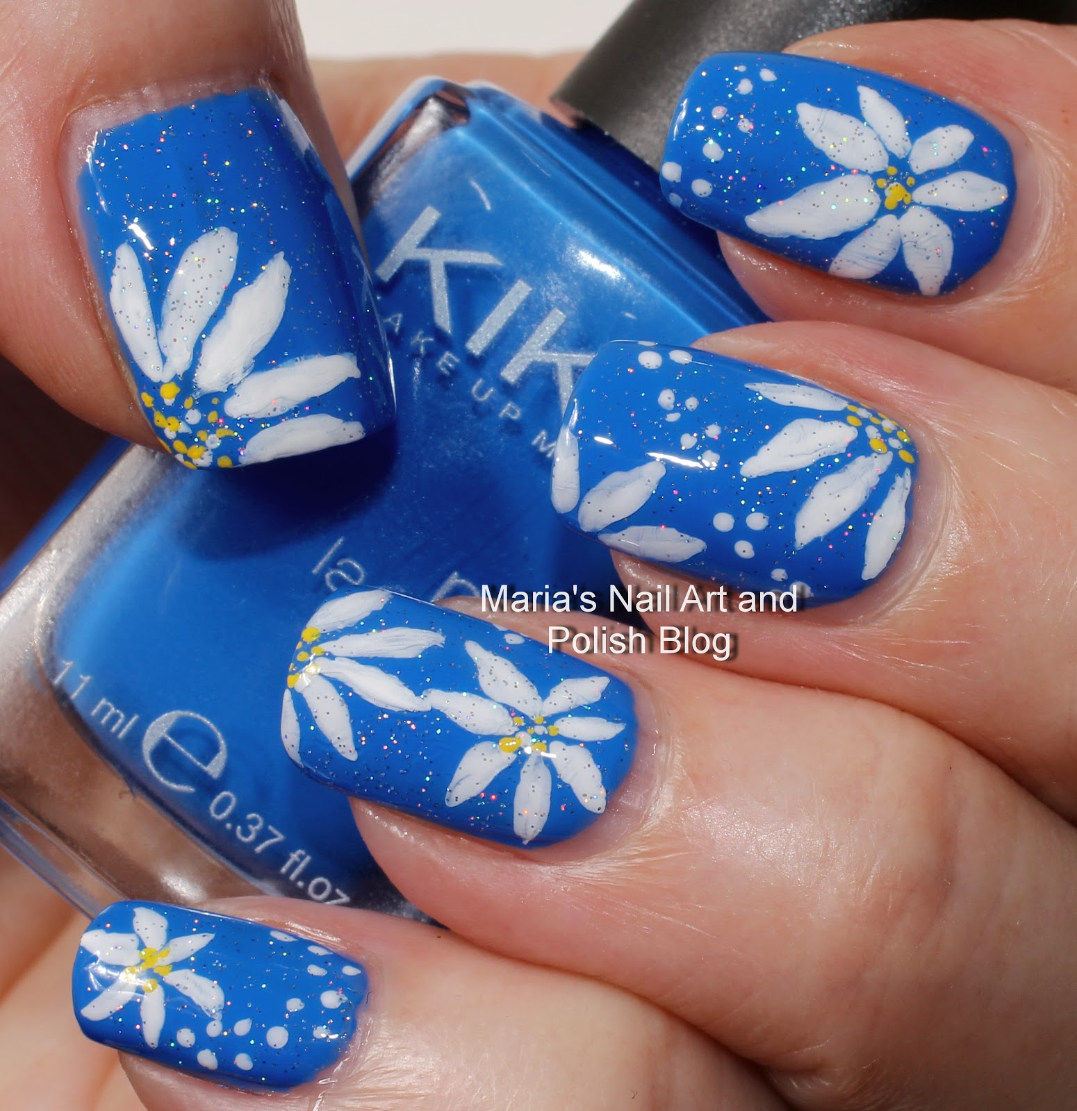 Daisy Nail Art On Blue By Maria