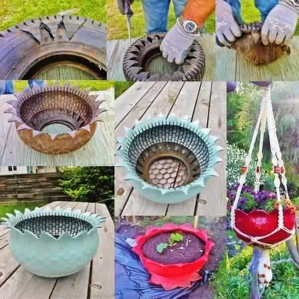 DIY Recycled Tire Flower Planter