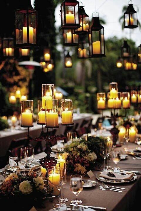 Boda al aire libre con velas