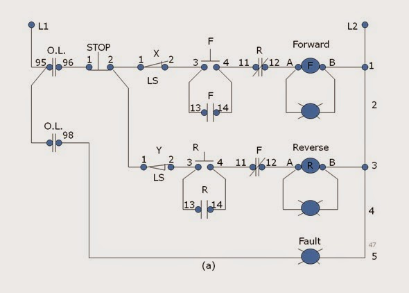 Forward Reverse Motor Control on single phase motor reversing diagram