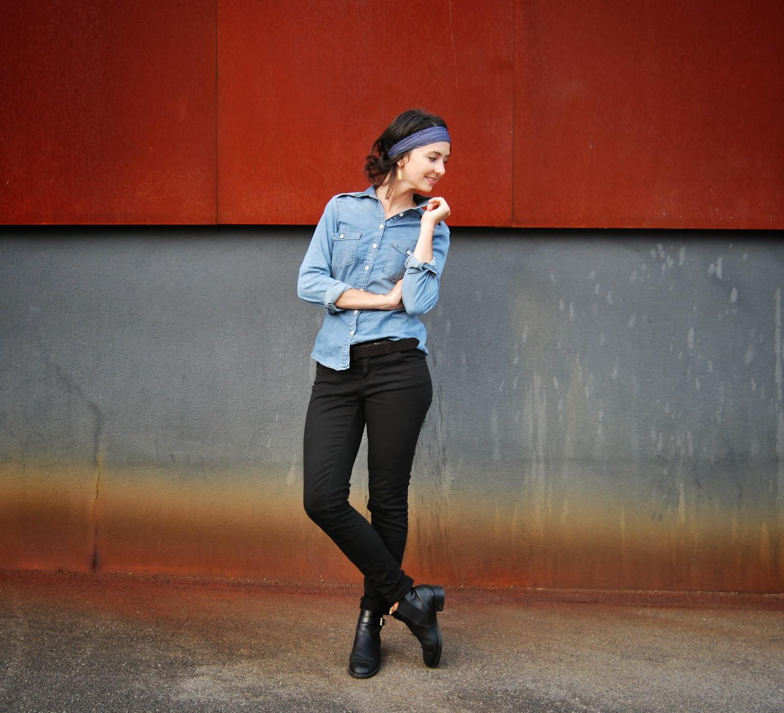 look chemise en jeans, foulard