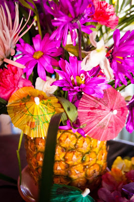 Luau Pineapple Flower Centerpiece - True Blue Style Event Planning