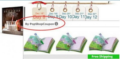 the screenshot of PopShopCoupon ads