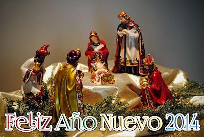 Jesús, María y José con mensaje de Año Nuevo