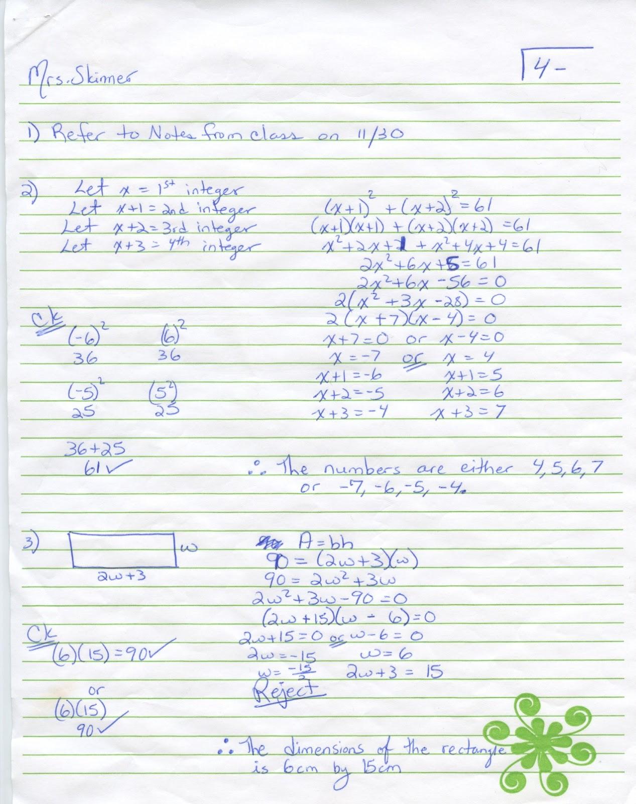 Iroquois Algebra Blog: Unit 4 Word Problems Worksheet Answer Key