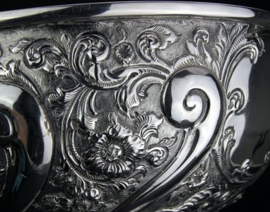 ANTIQUE 19thC VICTORIAN SOLID SILVER BOWL ON EBONISED STAND, LONDON c.1894