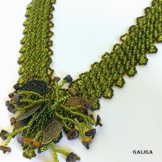 necklace beaded-necklace leaves, agate