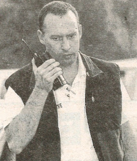 Newspaper photo of a young Det. Norris talking on a radio.