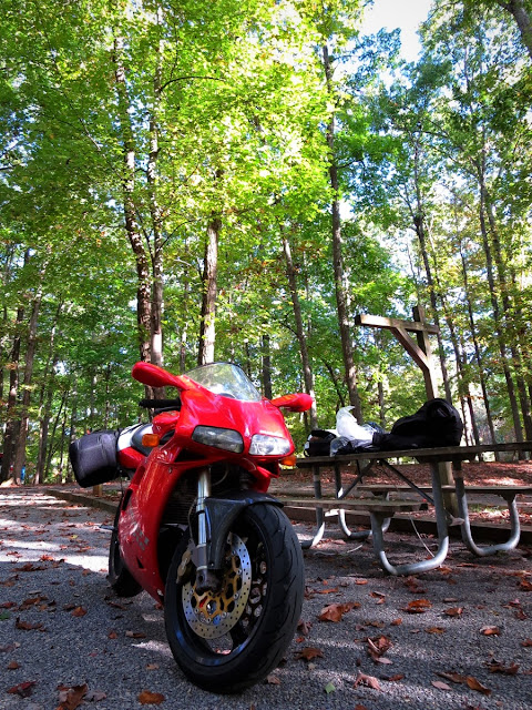 Ducati 916 in Claytor Lake state park Virginia.