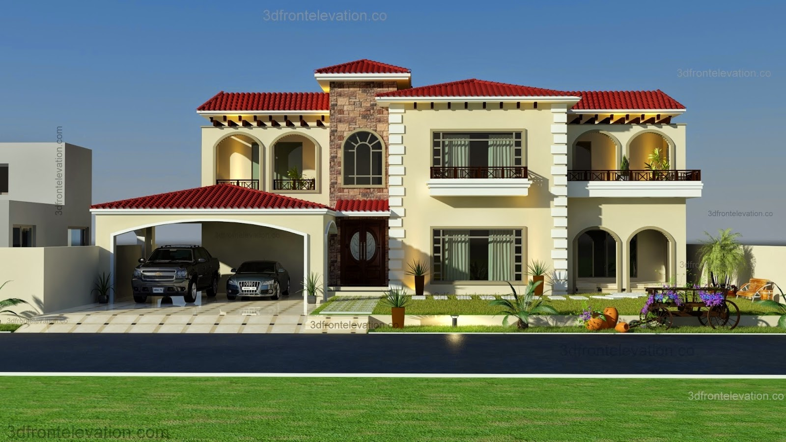 3d front beautiful mediterranean house for New homes design pakistan