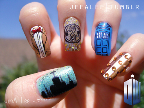 Plucky kelly tardis blue doctor who inspired nails i think its all right for my first try especially since i dont yet own a nail art prinsesfo Choice Image