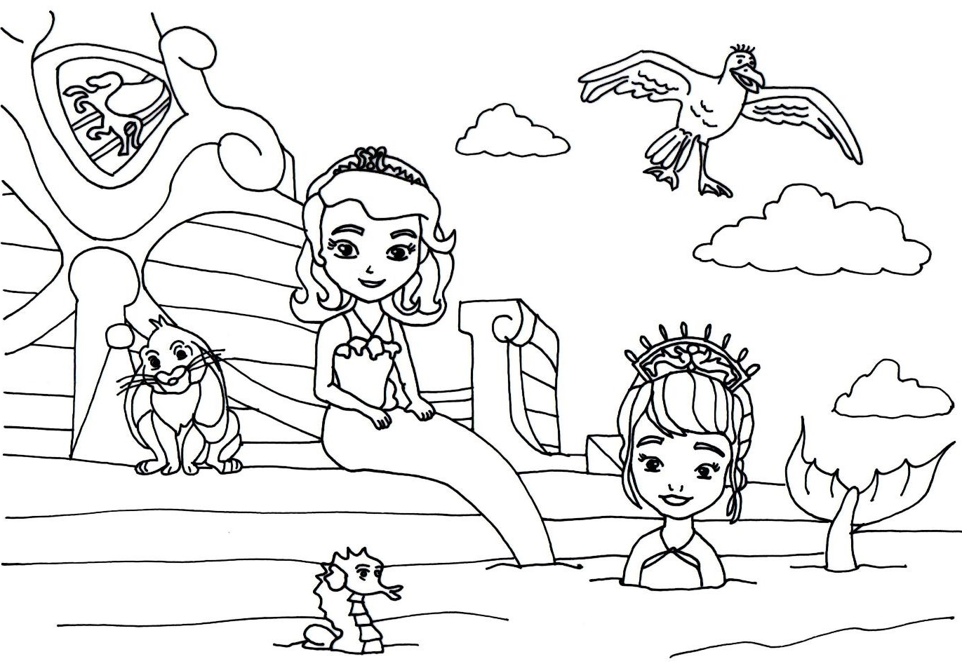 sofia the first coloring pages floating palace sofia the first